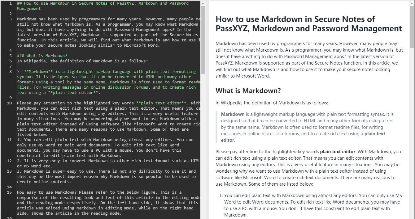 How to use Markdown in Secure Notes of PassXYZ, Markdown and